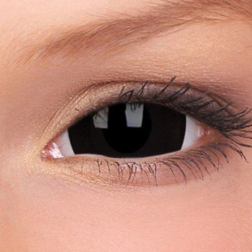 esclerótica Lenses Mini Black, mes de colores Lente, Negro, SIN Prescripción, 1pieza