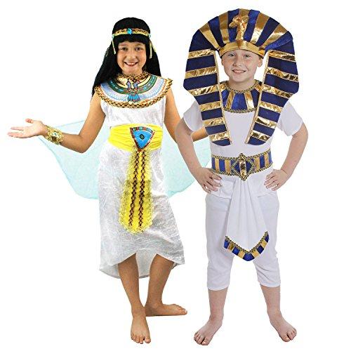 ÄGYPTIAN -PHARAONEN KINDER PAAR = KINDER KOSTÜM FÜR ÄGYPTISCHE VERKLEIDUNG FÜR EIN PAAR/KINDER = HISTORISCHE KINDER KOSTÜM FÜR FASCHING UND KARNEVAL = FÜR PHARAO UND KÖNIGIN DES NIL VERKLEIDUNGEN = (Moses Kinder Kostüme)