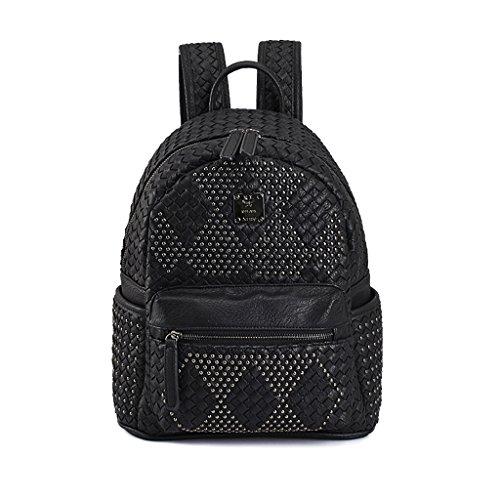 GUO - 2017 nouvelle automne à l'automne et à l'hiver épaule tissée à la main sac à dos rivets scolaire Sac à dos en cuir élastique (25 * 15 * 33 cm) (noir)