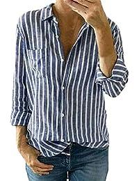 TEBAISE Damen Freizeit Streifen Leinen Bluse Locker Hemd Longbluse  Gestreifte Button-Down Langarm Langen Ärmeln 0a3ae27e1f