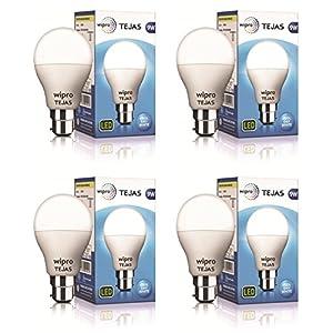 Wipro Tejas Base B22 9-Watt LED Bulb (Pack of 4, Cool Day Light)