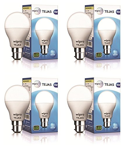 Wipro Tejas Base B22 9-Watt LED Bulb (Pack of 4, Cool Day...