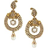 Jewels Galaxy Traditional Metal Gold Plated and Pearl Drop Earrings for Women & Girls