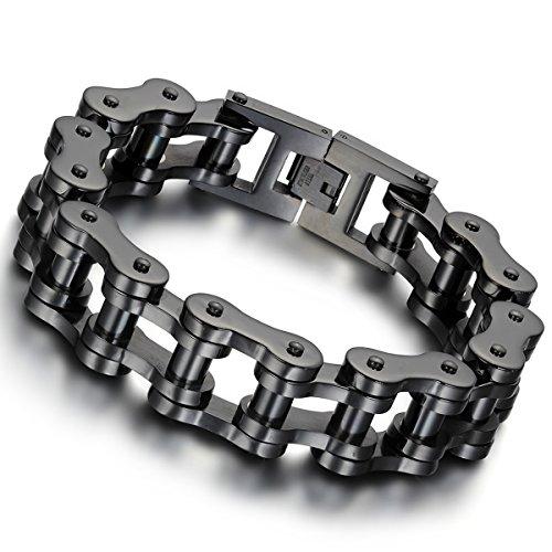 Schweres Biker-Armband aus Edelstahl für Herren von Cupimatch, 18 mm breit, 23 cm lang