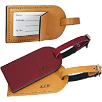 Personalised Luggage Tag for suitcases - British Genuine Leather - Initials Engraved - L1018
