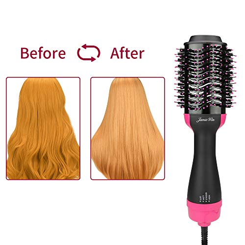 JamieWIN One Step Hot Air Brush - 4 in 1 Hair Dryer Styling and Volumizer Comb Negative Ionic Salon Hair Straightener and Curler Hot Hair Comb Anti-Scald