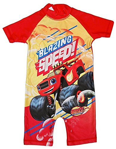Boys All in One Swimming Suit Costume Swimwear Blaze & The Monster Machines (3-4 Years)