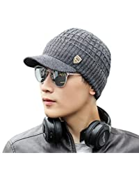 Saisiyiky gorros de lana hombre invierno sombreros hombre invierno de punto de invierno gorro de esquí (Gris oscuro)