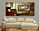 Mon Kunst 100% Hand Painted Oil Painting Abstract Art Large Modern Art 3 Piece Wall Art Canvas Art for Home Decoration(Stretched and Framed) Ready to Hang - Mon Kunst - amazon.co.uk