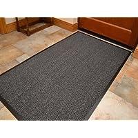 Extra Large Big Dark Light Grey Hardwearing Heavy Duty Black PVC Edge Pile Top Rubber Barrier Entrance Door Kitchen Utility Dust Floor Mats Rugs 90cm x 150cm