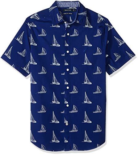 Nautica Herren Hemd, kurzärmelig, Mini-Boot-Print, Stretch - Blau - 3X-Larget Hoch