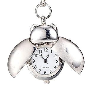 dxlta Mode Form von Käfer Taschenuhr | Quarz Anhänger Halskette Kette–Geschenke, Schmuck