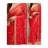 CmDeal Sarees ( sarees for women below 500 sarees for women latest design Women's Embroidered Red Pure Georgette Saree With Unstitched Blouse Piece Material )