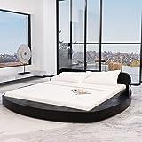 Festnight Cadre de lit en Cuir Artificiel Rond 180 x 200 cm