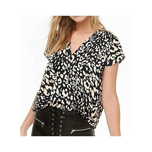 Leopard Print Blouse Women V Neck Chiffon Tops Short Sleeve Tunic Shirt Plus Size -