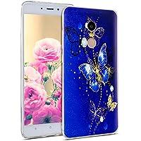 Uposao Hülle Xiaomi Redmi Note 4X Silikon Handyhüllen Schöne Muster Durchsichtige Ultradünn Schutzhülle Transparent Silikon Bumper Clear Backcover,Glitter Schmetterling
