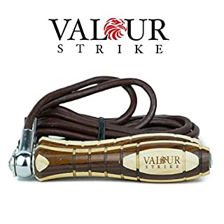 Valour Strike Premium Skipping Ropes Leather ★ Gym Adjustable Weighted Jump Speed Rope Fitness ★ Training Workout Exercise Boxing Jumping Work Out