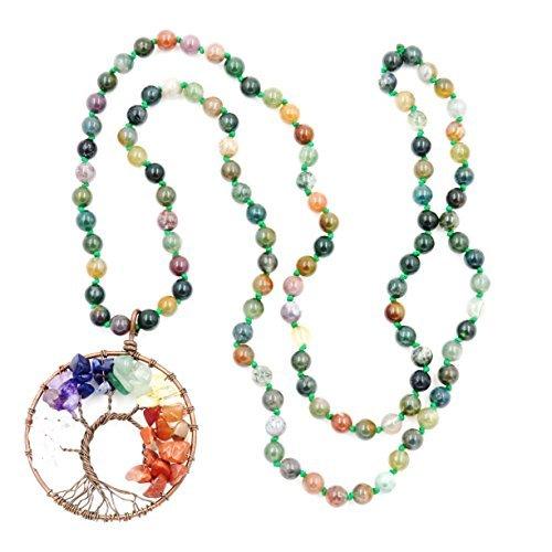 Collar del árbol de la Vida, Collar de Piedras Preciosas Anudada a Mano, cumpleaños (Agata India)