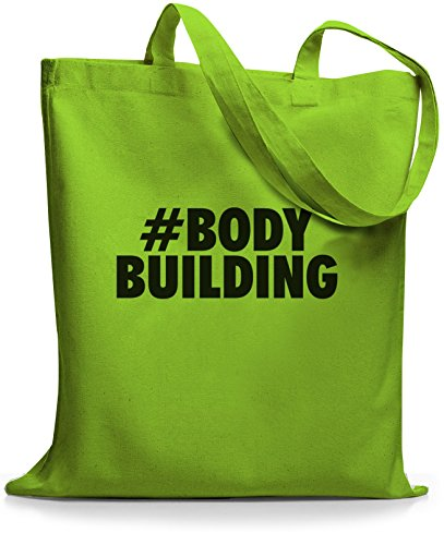 StyloBags Jutebeutel / Tasche Hashtag # Bodybuilding Lime