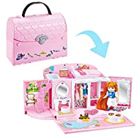deAO 2-in-1 Dollhouse Handbag Carry Case Play Set with Mini Custom Doll, Bedroom and 50 Accessories Included