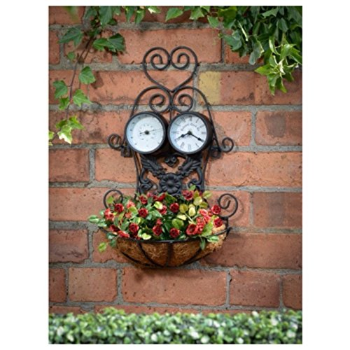 vintage-garden-3-in-1-planter-with-thermometer-and-clock-black