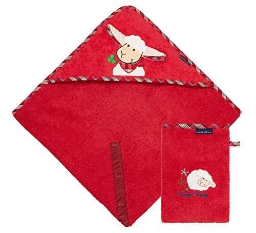 Morgenstern Set Kapuzenhandtuch mit Waschhandschuh aus Bio Baumwolle rot Frottee OEKO-TEX® Kapuze mit Ohren und Schafmotiv mit 100 x 100 cm extra groß -