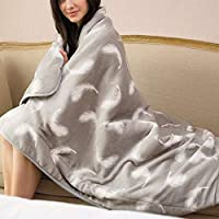 Authda Multi-Functional Electric Blanket Flannel Material Knee Warmer Electric Blanket for Sofa 9-Speed Temperature Adjustment Over-Pressure Protection Gentle Washable 160 * 120cm (Gray)