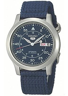 Seiko 5 Men's Automatic Blue Canvas Strap Watch SNK807