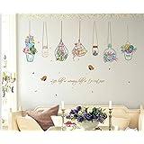 skyllc® Impermeable Etiquetas engomadas desprendibles de Coloridas Frescas Cesta en macetas Decorativas de la Pared engomadas