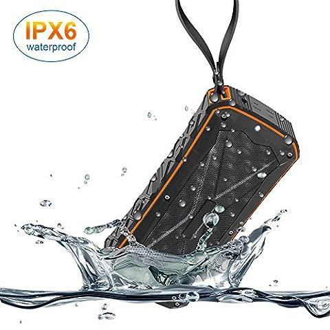 Haut-parleur sans fil portable sans fil Bluetooth IPX6 étanche double haut-parleurs 10W, graves améliorées, charge d