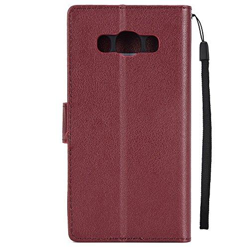 Classic Premiu PU Ledertasche, Horizontale Flip Stand Case Cover mit Cash & Card Slots & Lanyard & Soft TPU Interio Rückseite für Samsung Galaxy J510 ( Color : Wine ) Wine