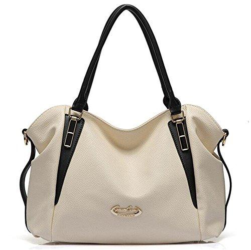 LDMB Damen-handtaschen Frauen-weiche PU-lederne Taschen-Schulter-große Kapazitäts-prägeartige Kurier-Beutel-justierbare Handtasche White