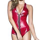 Vestito di cuoio sexy, WINWINTOM vestito sexy da partito sexy della biancheria intima sexy della Siamese della chiusura lampo della tuta sportiva delle donne delle donne (Rosso)