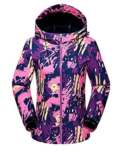 Femmes Encapuchonné Softshell De Plein air Imperméable Camouflage Veste de Ski Randonnée Manteau Rose L