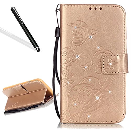 Custodia in Pelle per iPhone 5 5S,Portafoglio Wallet Cover per iPhone SE,Leeook Retro Elegante Goffratura Rosa Farfalla Fiore Modello Cordoncino Snap-on Magnetico Carte Slot e Supporto Funzione Bookst Diamante,Oro