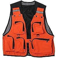Chaleco de pesca - SODIAL(R) Ligero,comodo, Chaleco de red de multi bolsillos pesca Chaleco de trabajo de caza Chaleco al aire libre Naranja L