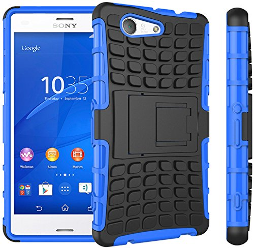 Preisvergleich Produktbild Nnopbeclik Sony Xperia Z3 Compact / Z3 Mini Hülle,  Dual Layer Rugged Armor stoßfest Handy Schutzhülle Silikon Tasche für Sony Xperia Z3 Compact / Z3 Mini - Blau + 1x Display Schutzfolie Folie