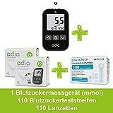 Blutzucker-Diabetes Spar-Set: adia Blutzuckermessgerät (mmol) + 110 Blutzuckerteststreifen + 110 Lanzetten zur Selbstkontrolle bei Diabetes