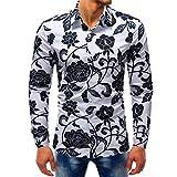 HCFKJ T-Shirt Blusen Herren, Fashion Printed Bluse beiläufige Lange Hülsen-dünne Hemd-Oberseiten (L2, Mul)