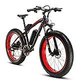 Cyrusher® Extrbici XF660 48V 500 Watt Bicicletta Rosso Nero Bicicletta Moto Bicicletta Bicicletta 7 Velocità Freni Idraulici Disco Elettrico Biciclette