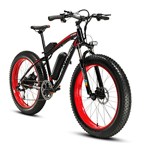 51i3o06pPyL. SS500  - Cyrusher XF660 Electric Bike 48V 500W/1000W Mens Mountain Ebike 7 Speeds 26 inch Fat Tire Road Bicycle Snow Bike Pedals with Disc Brakes and Suspension Fork (Removable Lithium Battery)