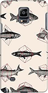 galaxy note 4 back case cover ,Fishes in Geometrics Designer galaxy note 4 hard back case cover. Slim light weight polycarbonate case