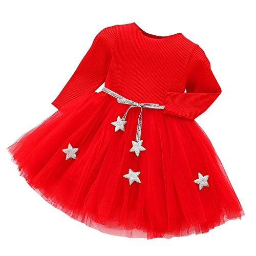 Kleid Mädchen, HUIHUI Festlich Prinzessin Party Kleid Mode Star Lange Ärmel Rock Casual Frühling Sommer Herbst Bekleidung 0-24 Monate (90 (6-12Monate), Rot)