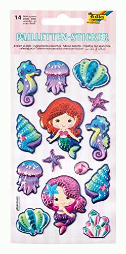 Pailletten - Sticker I mit Meerjungfrau Motiven, metallisch schimmernde Kunststoffsticker, 14 Stück, ideal geeignet zum Verzieren von Grußkarten, Bastelarbeiten und Scrapbooking (Scrapbooking Sticker Meerjungfrau)