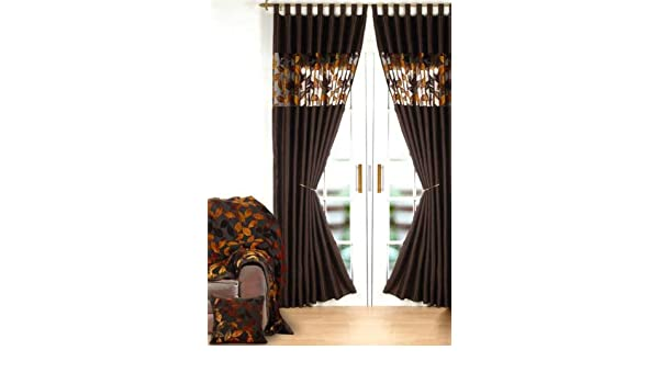 Curtains Ideas chocolate brown tab top curtains : Chocolate Brown Faux Silk with Autumn Orange Velvet Leaves Voile ...