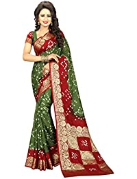 SK Clothing Womens Multi Color Art Silk Handicraft Bandhani Saree With Blouse Piece (Boxpallu 07)