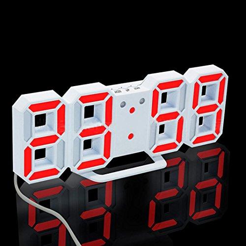 Elektronischer Wecker LED Digitaluhr erthome Moderne Digital LED Tisch Schreibtisch Nacht Wanduhr Wecker 24 oder 12 Stunden Anzeige (Rot)