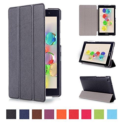 Skytar Hülle für Asus Z170CG Leder,ZenPad C 7.0 Tasche,PU Leder Schutzhülle Smart Hülle Stand Folio Cover Case für Asus ZenPad C 7.0 Z170C / Z170CG /Z170MG (7'' Zoll) Tablet,Schwarz