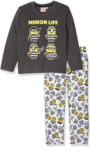 Les minions 161950, pigiama bambino, grigio/bianco, 6 anni