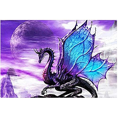 DZSLTC Diamond Painting Kits, DIY 5D Full Drill Art Perfect for Relaxation and Home Wall Decor (Flying Dragon)@35 * 25 Semi Round Step